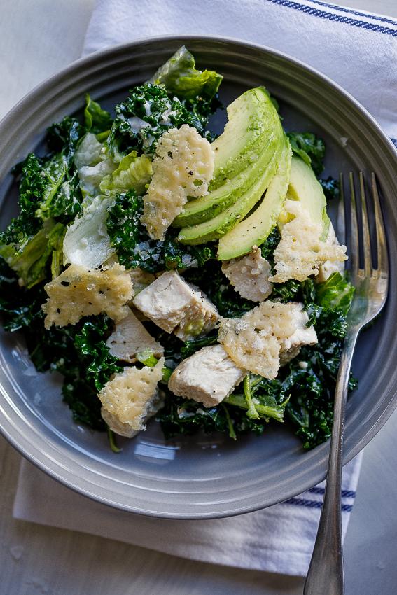 Kale Chicken Caesar salad