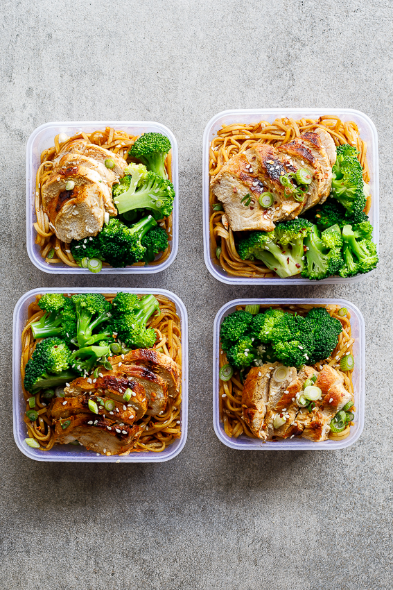 Soy honey noodle salad with chicken