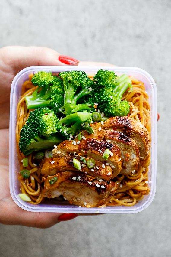 Soy honey noodle salad - meal prep