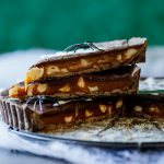 Salted caramel macadamia chocolate tart