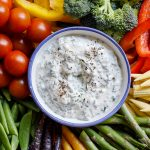 Crudité platter with easy sour cream dip