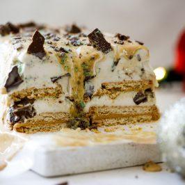Mint-crisp caramel ice cream cake