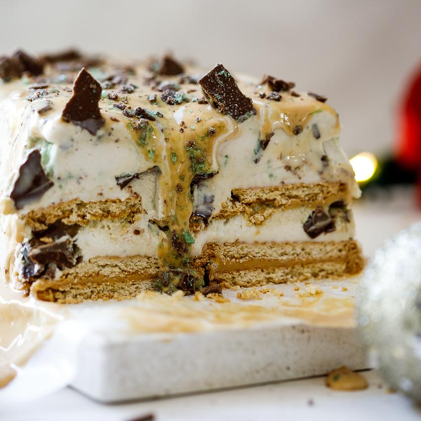 Mint Crisp Caramel Ice Cream Cake Simply Delicious
