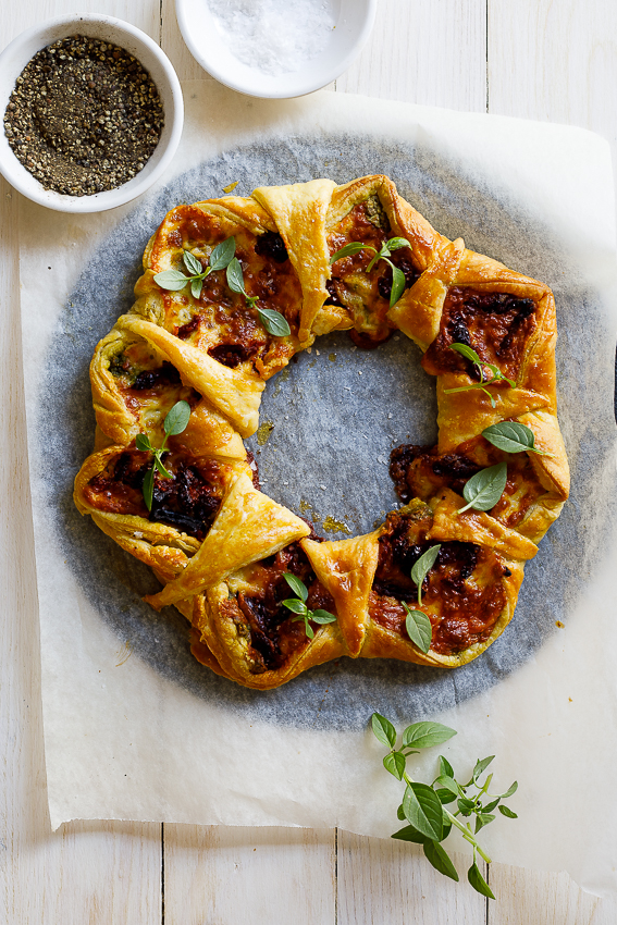 Sun-dried tomato basil mozzarella wreath