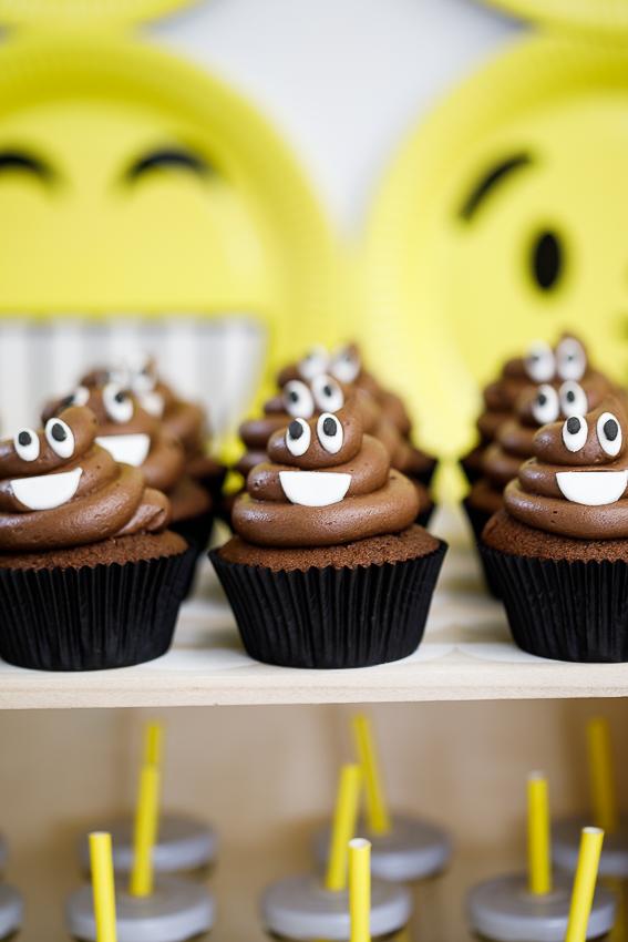 Emoji birthday party Poop emoji cupcakes