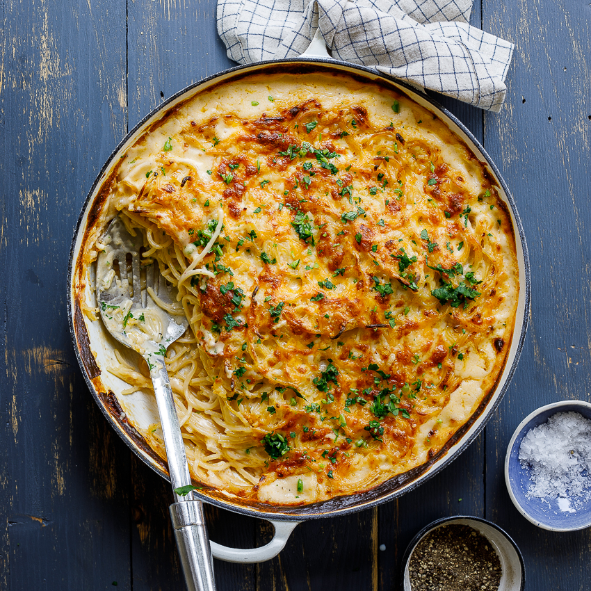 Creamy Baked Spaghetti Simply Delicious