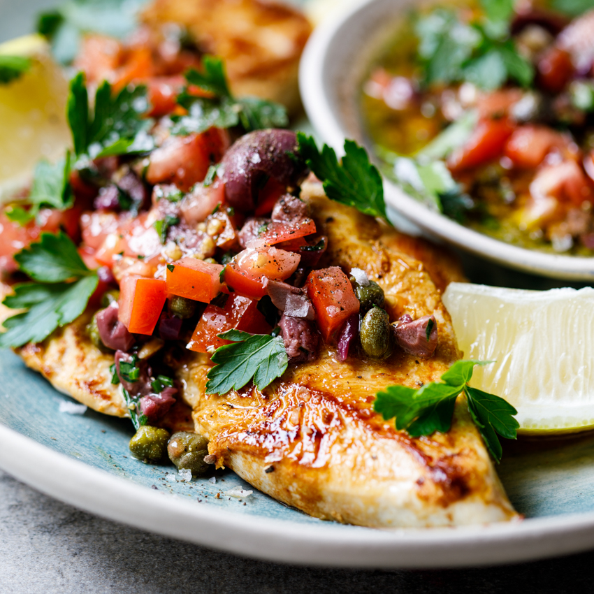 Chicken Breasts With Olive, Tomato And Caper Dressing