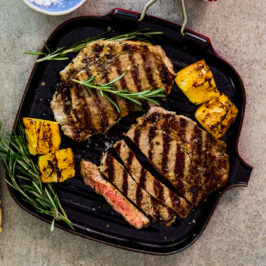 Mayonnaise grilled rosemary garlic steak