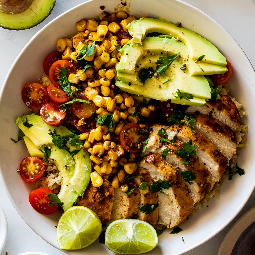 Mexican chicken lunch bowls - Simply Delicious