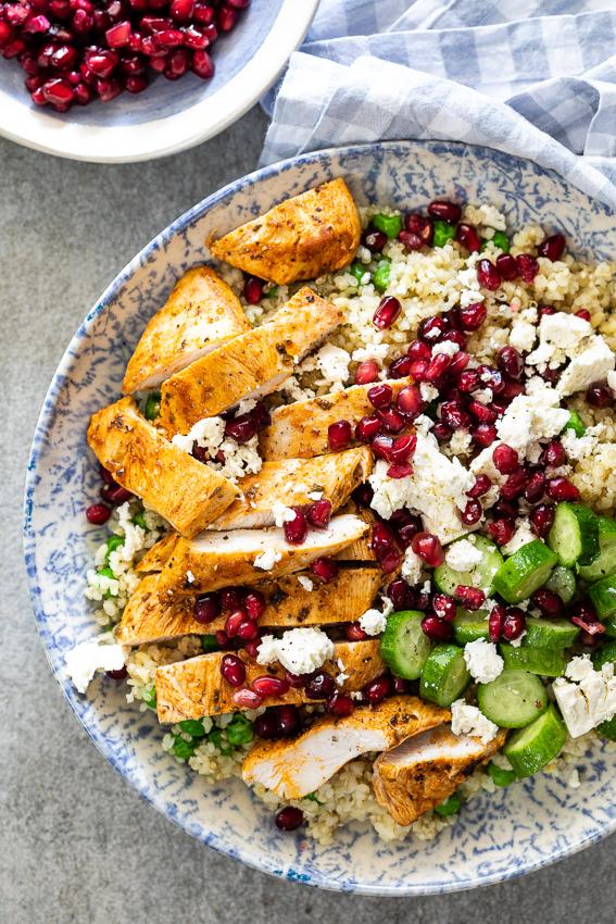 Chicken quinoa salad with peas and feta