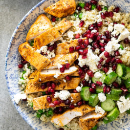 Chicken quinoa salad with peas and feta