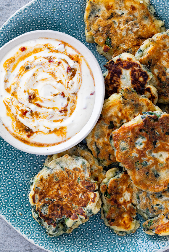 Kale and feta fritters
