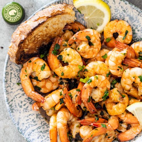 White wine garlic prawns