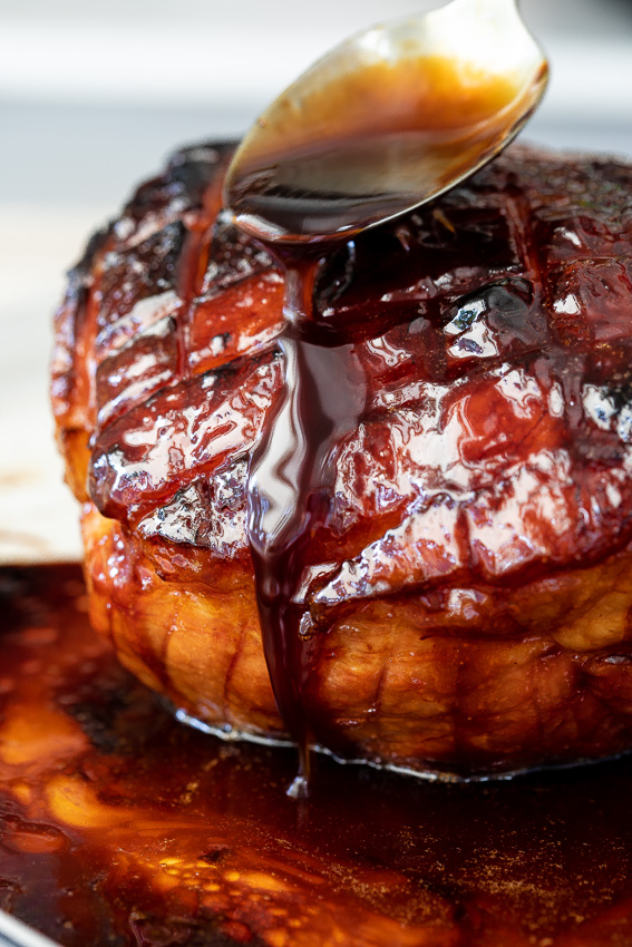 Apricot apple glazed ham