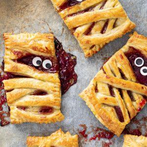 Halloween mummy berry hand pies