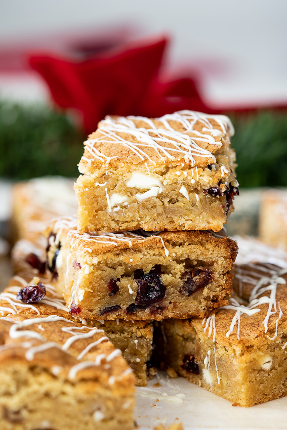 White chocolate cranberry cookie bars