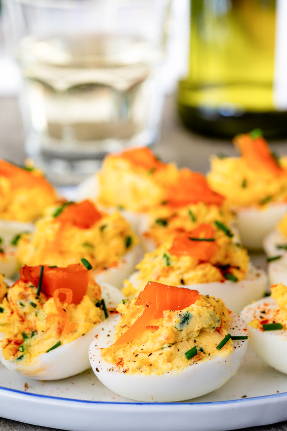 Smoked salmon chive devilled eggs