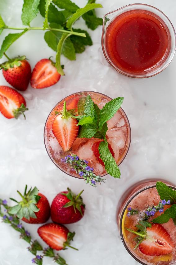 Blushing strawberry gin and tonic