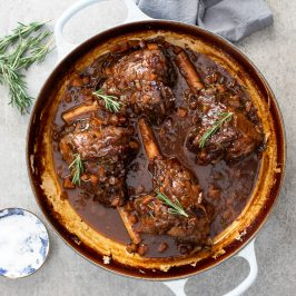 Slow-braised lamb shanks