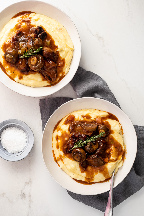 Slow braised beef short ribs with cheesy mash