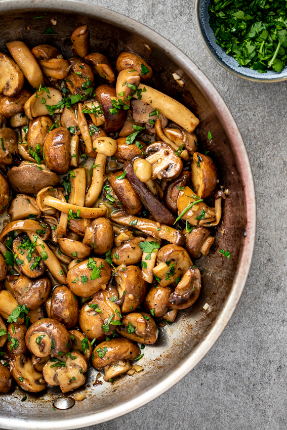 Creamy mushrooms in pan