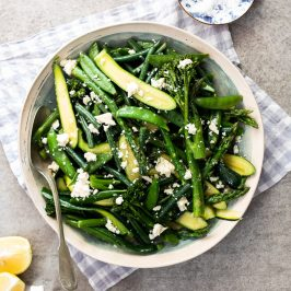 Easy steamed spring vegetables with feta cheese