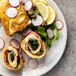 Boursin smoked salmon egg roulade