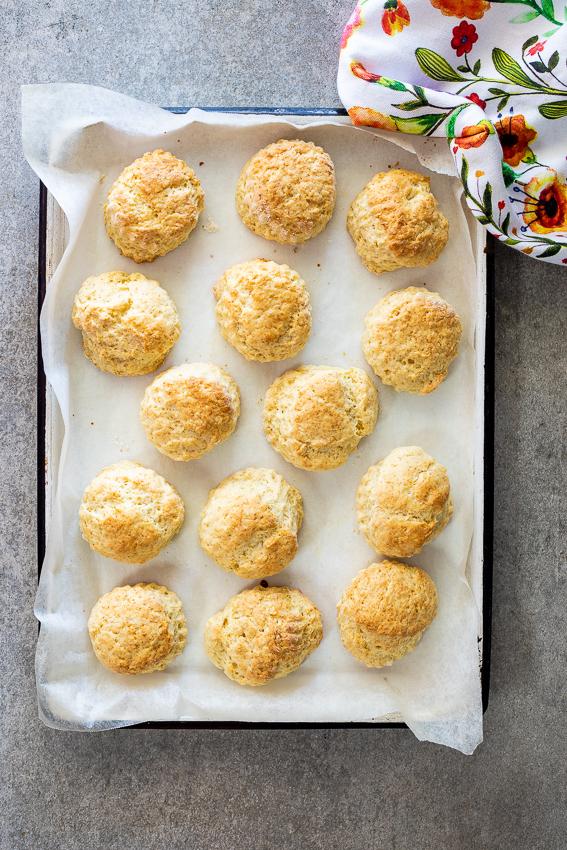 Easy buttermilk scones on baking sheet