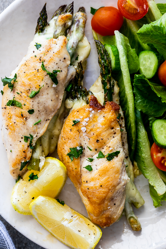 Cheesy asparagus stuffed chicken