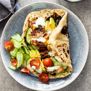 Chicken shawarma with easy flatbread