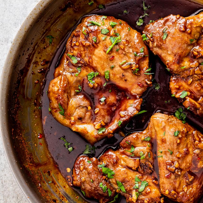 pork loin ribeye chops recipe Honey-garlic pork ribeye steak
