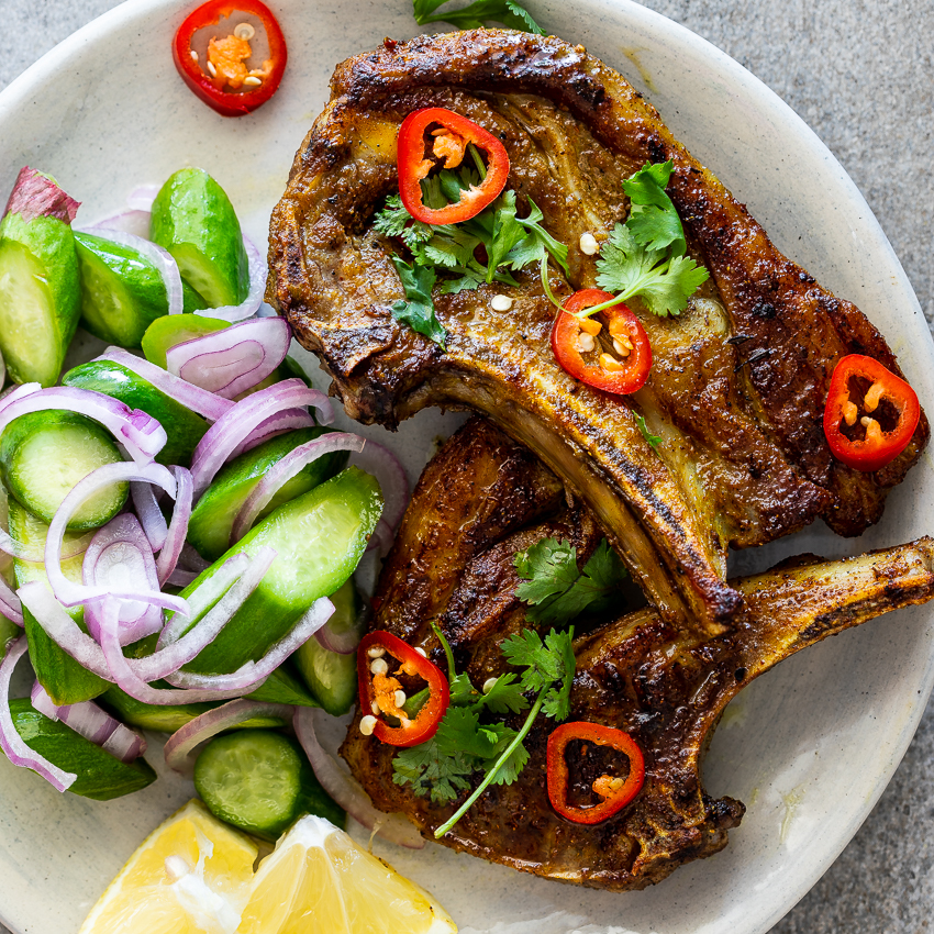 lamb chop recipe indian Indian spiced Lamb Chops with cucumber salad
