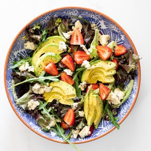Avocado blue cheese strawberry salad