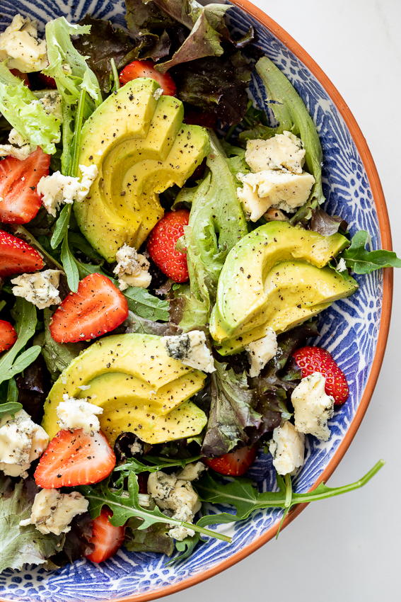 Blue cheese avocado strawberry salad