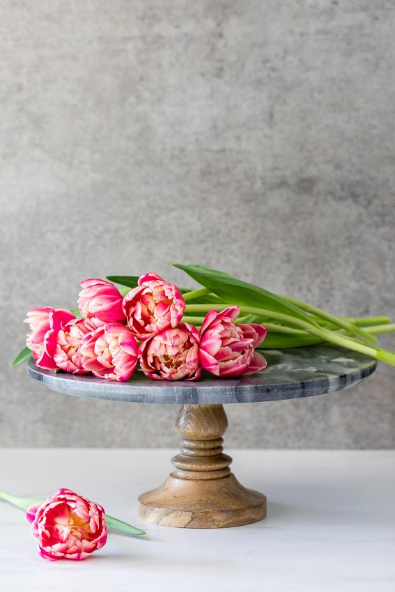 Tulips on cakestand