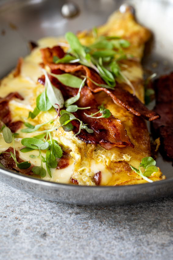Brie and bacon omelette
