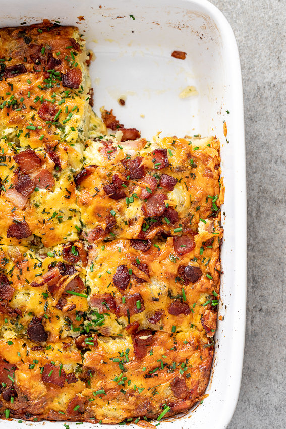 Cheesy bacon potato breakfast casserole