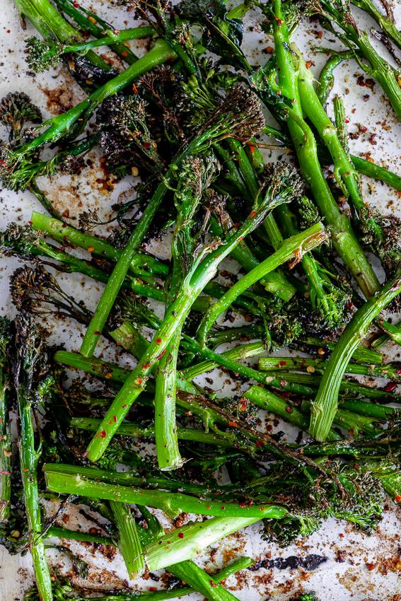Easy spicy garlic roasted broccoli