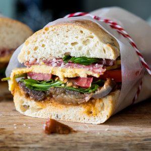 Summer salami sandwich