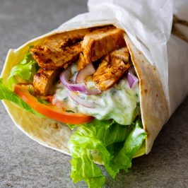 Creamy tzatziki chicken wraps