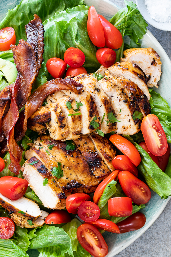 Grilled chicken on BLT salad