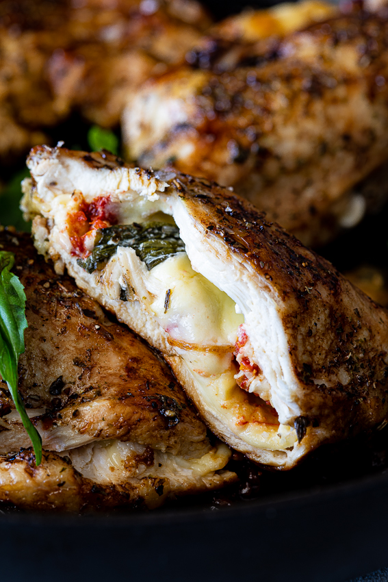Caprese stuffed chicken breasts with melted mozzarella