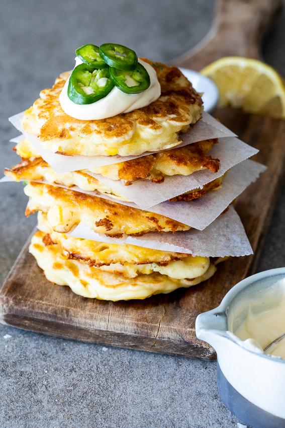 Easy jalapeño corn pancakes