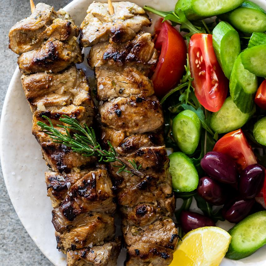 Greek pork souvlaki - Simply Delicious