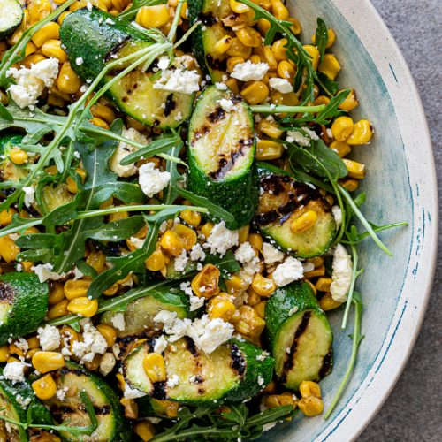 Corn and grilled zucchini salad