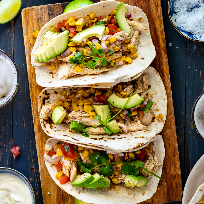 Shredded Chicken Tacos With Corn Salsa Simply Delicious