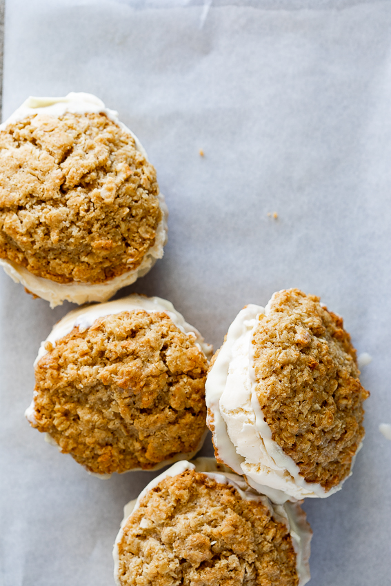 Coconut oatmeal cookie ice cream sandwiches