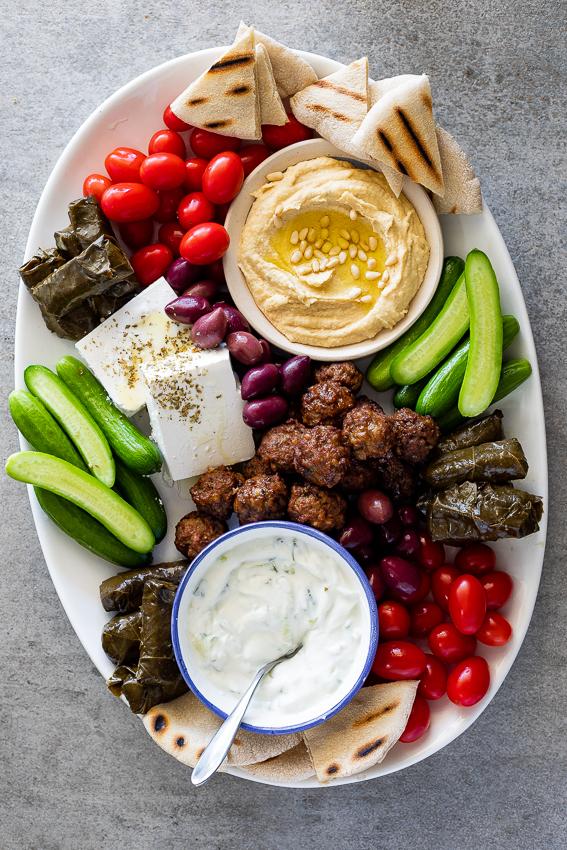 Greek mezze platter - Simply Delicious