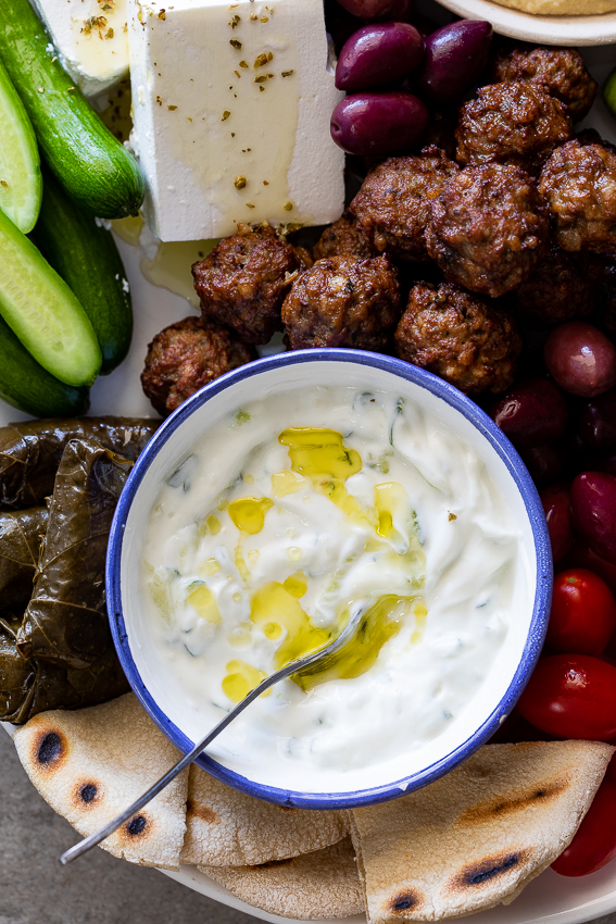 Greek tzatziki on a mezze platter