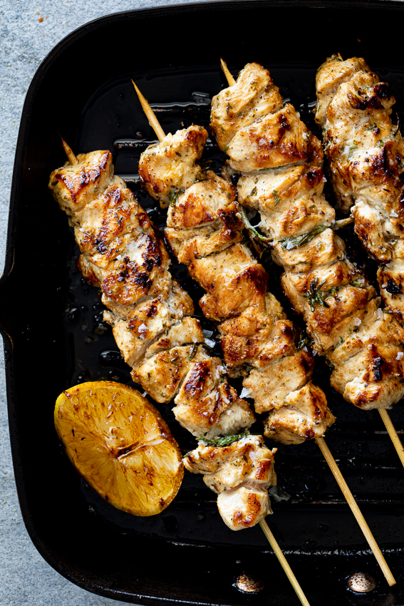 Easy herby lemon chicken skewers
